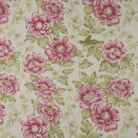 Wray - Raspberry - Busy floral patterns covering 100% cotton fabric in shades of dark pink, light fern green and very pale grey
