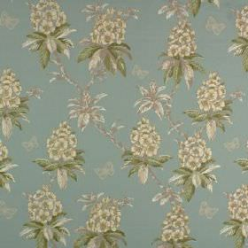 Ascot - Mineral - Light blue fabric made from 100% cotton, printed with off-white coloured flowers and dusky green leaves