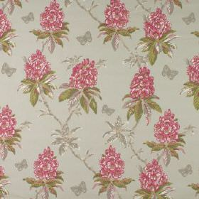 Ascot - Raspberry - Butterflies, flowers and leaves patterning 100% cotton fabric in bright pink, grass green and light grey shades