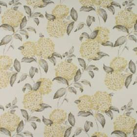 Avebury - Buttercup - Very pale grey-white coloured 100% cotton fabric printed with dark grey leaves and round flowers in pale yellow