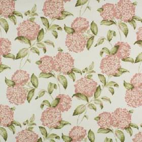 Avebury - Coral - Round flowers in light pink, printed with green-grey coloured leaves on an off-white 100% cotton fabric background