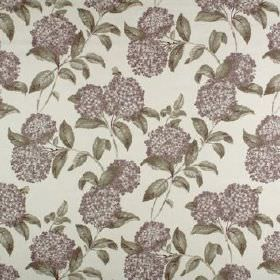 Avebury - Heather - Dark shades of purple and grey making up a small, repeated, round floral and leaf pattern on 100% cotton fabric