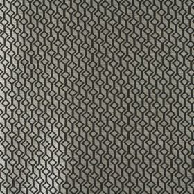 Deakin - Graphite - 100% polyester fabric the colour of silver, patterned with rows of connected tilted black squares and lines