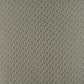 Deakin - Pearl - Light grey tilted squares connected by lines on a forest green-grey coloured 100% polyester fabric background
