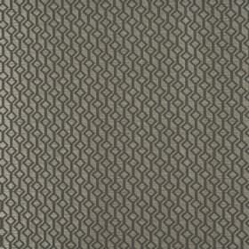 Deakin - Platinum - 100% polyester fabric with a pattern of tilted squares and lines in two different shades of dark green-grey