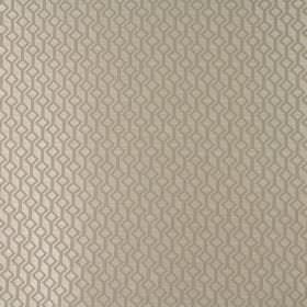 Deakin - Silver - Two similar shades of creamy gold making up 100% polyester fabric with a geometric pattern of tilted squares and lines