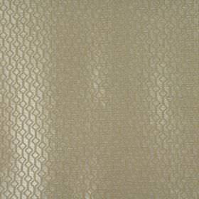 Deakin - Stone - Fabric made from light gold and cream coloured 100% polyester with a subtle geometric square and line pattern