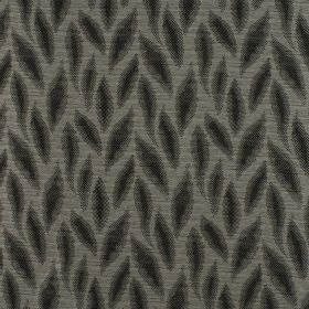 Rocco - Graphite - Dark and mid grey stylised leaf shapes on a background of 100% polyester fabric in a slightly lighter shade of grey