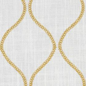 Colwyn - Buttercup - Small yellow-gold coloured dots making up chains of wavy lines on a pale grey background of cotton and polyester fabric