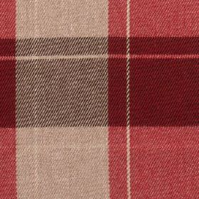 Fellcroft - Cranberry - Fabric made from 100% polyester, featuring a large, simple checked design in light beige and warm scarlet shades
