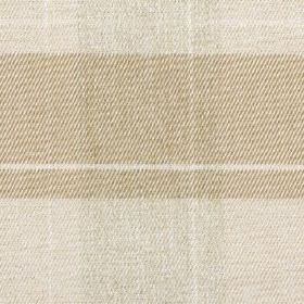 Fellcroft - Linen - Light shades of grey and beige making up a 100% polyester fabric with a warm, neutral design of large, simple checks