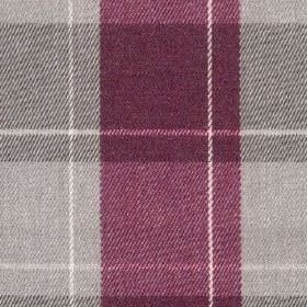 Fellcroft - Mulberry - 100% polyester fabric made in dark purple and light grey shades, woven with a large, simple checked design