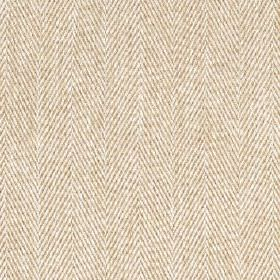 Howie - Linen - Off-white and light brown coloured threads made into a 100% polyester fabric featuring a traditional herringbone weave