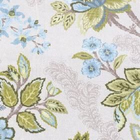 Leathan - Aqua - Light shades of sky blue, olive green and grey making up a detailed floral and leaf pattern on white 100% polyester fabric