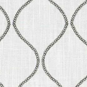 Colwyn - Buttercup - Very pale grey-white cotton and polyester blend fabric printed with wavy lines made up of small black circles