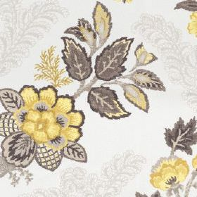 Leathan - Buttercup - Detailed flowers and leaves patterning 100% polyester fabric in off-white, pale grey, dark grey and light yellow
