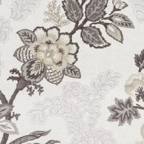Leathan - Charcoal - Fabric made from 100% polyester, featuring detailed, intricate flowers and leaves in black and several shades of grey