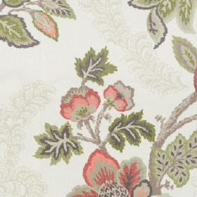 Leathan - Cranberry - Off-white 100% polyester fabric patterned with detailed flowers and leaves in mutedgrey, pink and green tones