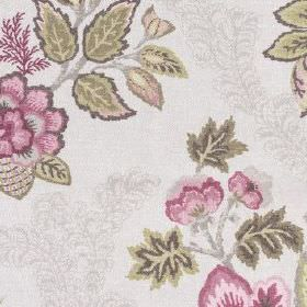 Leathan - Mulberry - 100% polyester fabric patterned with detailed pale grey, khaki and dark pink coloured flowers and leaves
