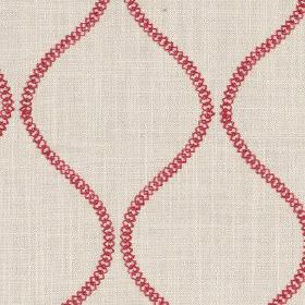 Colwyn - Cranberry - Scarlet and grey-beige fabric made from cotton and polyester, printed with wavy chains made up of small circles