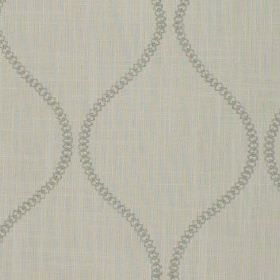 Colwyn - Pebble - A simple design of wavy lines made up of small circles printed on cotton and polyester blend fabric in light grey shades