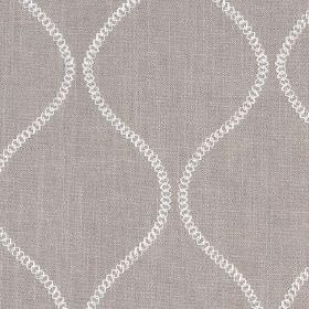 Colwyn - Silver - Fabric made from mid-grey cotton and polyester, printed with small circles making up simple wavy lines in white
