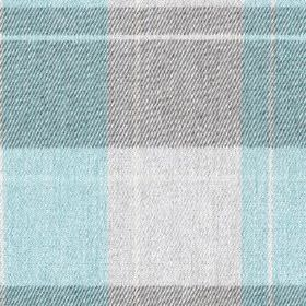 Fellcroft - Aqua - Sky blue, dark grey and pale grey shades making up a large check design woven into 100% polyester fabric
