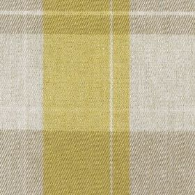 Fellcroft - Buttercup - 100% polyester fabric woven with a large checked design in light, fresh citrus and grey shades