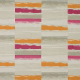 Hockney - Raspberry - Orange, dark pink, bright pink, grey and beige stripes covering 100% cotton fabric in a disjointed design