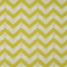 Strider - Apple - White and lime green coloured zigzag patterned 100% cotton fabric which has some smudges between the lines