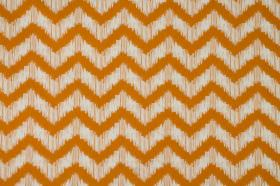 Strider - Clementine - 100% cotton fabric with a smudged zigzag design in white and bright orange
