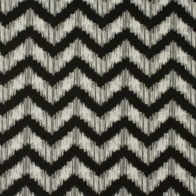 Strider - Noir - Black and cream zigzags with smudged edges running horizontally across 100% cotton fabric