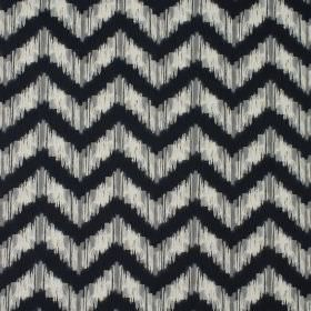 Strider - Petrol - Fabric made from 100% cotton with a design of zigzags with smudged edges in white and a very dark shade of blue-black