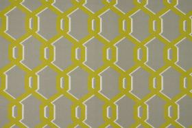 Warhol - Apple - Bright kiqi green coloured geometric shapes with white shadows on dark grey coloured 100% cotton fabric