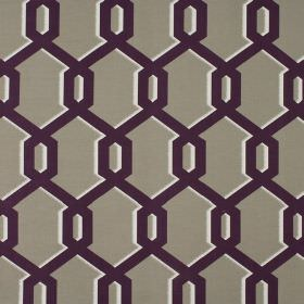 Warhol - Blackcurrant - Dull grey 100% cotton fabric patterned with overlapping geometric style lines in dark purple with slight white shado
