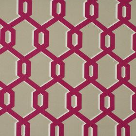 Warhol - Raspberry - Beige, white and raspberry coloured 100% cotton fabric covered with a pattern of geometric style shapes with shadows
