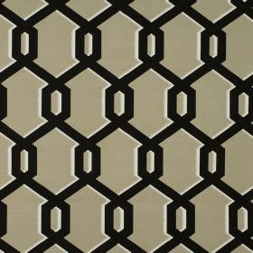 Warhol - Sand - Golden beige coloured fabric made from 100% cotton, with black geometric style shapes which have thin white shadows