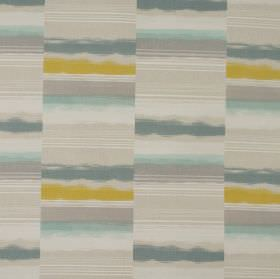 Hockney - Apple - Vertical stripes separated into horizontal bands in shades of grey, mustard and teal on 100% cotton fabric