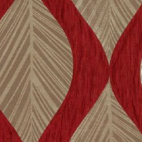 Botinia - Cherry - Slightly streaky burgundy coloured 100% polyester fabric behind an elegant light brown and beige leaf design