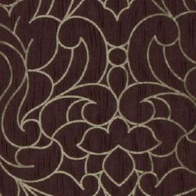 Makeda - Elderberry - Elegant, luxurious swirls patterning 100% polyester fabric in silver-grey and deep, indulgent purple-grey