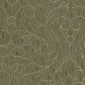 Makeda - Linen - 100% polyester fabric in mid-grey featuring a subtle streak effect, behind large, elegant silver-grey coloured swirls