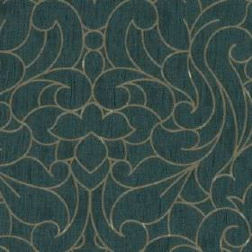 Makeda - Teal - Deep turquoise coloured 100% polyester fabric behind a large, elegant swirling design in light silver-grey
