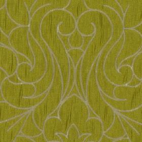 Makeda - Wasabi - A large, elegant swirling design covering 100% polyester fabric in ash grey and slightly streaky olive green