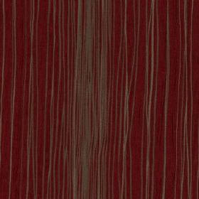 Mimi - Cherry - Rich maroon coloured 100% polyester fabric behind an uneven design of thin light grey vertical lines