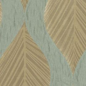 Botinia - Duckegg - Light shades of dusky blue, beige and brown making up an elegant leaf design on slightly streaky 100% polyester fabric