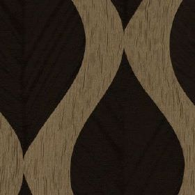 Botinia - Botinia - Large, subtle black leaves arranged repeatedly on a slightly streaky coffee coloured 100% polyester fabric background