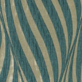 Tulie - Teal - Large curving lines creating an elegant pattern sweeping over light grey and dusky marine blue 100% polyester fabric