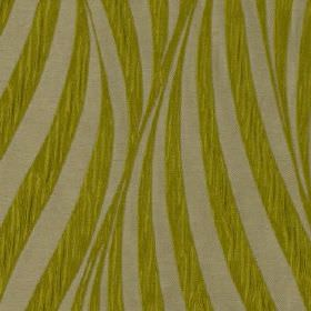 Tulie - Wasabi - Large, curving lines in streaky grass green and plain light grey sweeping over polyester and cotton blend fabric