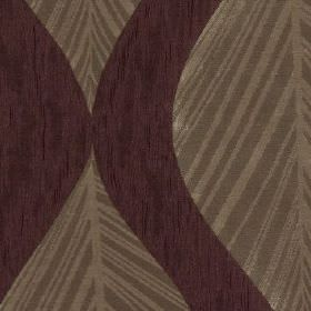 Botinia - Elderberry - Fabric made from 100% polyester in dark purple with subtle streaks, patterned with elegant grey-brown leaves