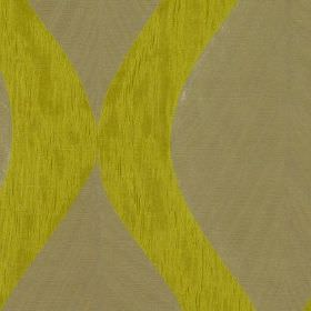 Botinia - Wasabi - Streaky citrus coloured 100% polyester fabric, featuring a dark beige design of large, subtle, repeated leaves